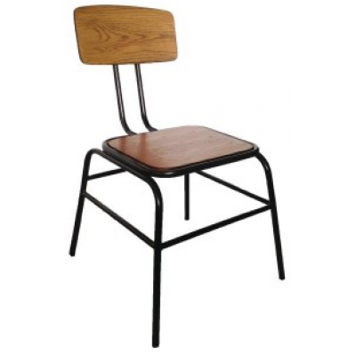Anzio Industrial Oak Bistro Stacking Sidechair