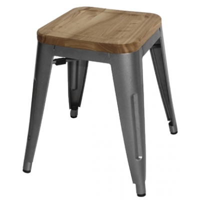 Bold Stacking Low Stool with Wood Seat Pad