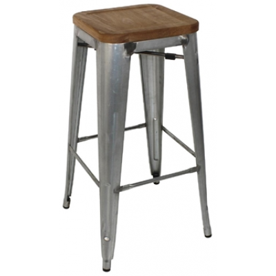 Bold Stacking High Stool with Wood Seat