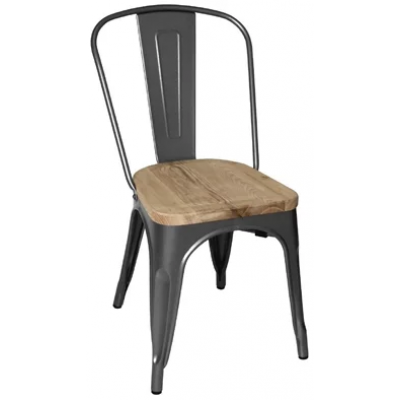 Bold Steel Stacking Chair with Wood Seat