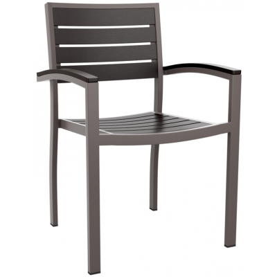 Sonia Black Faux Wood Outdoor Restaurant Armchair
