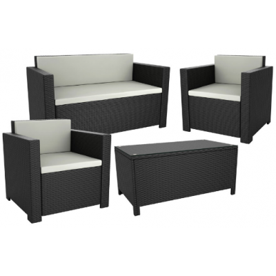 Gabby 4 Piece Black Sofa Set