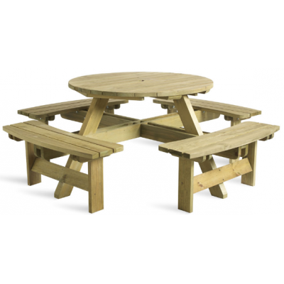 Complete 8 Seat Round Picnic Table