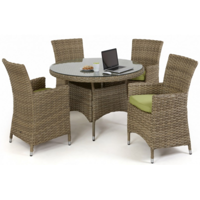 Natural Milan 4 Seat Round Dining Set