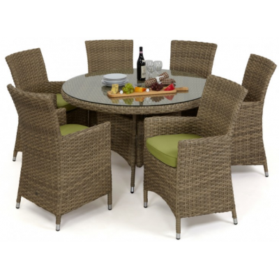 Natural Milan 6 Seat Round Dining Set