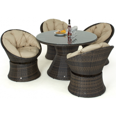 Catrina 4 Seat Swivel Dining Set