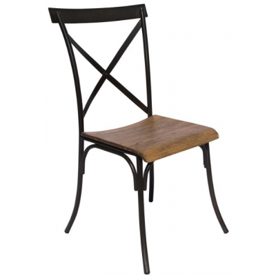 Cross Metal Cafe Chair with Oak Seat