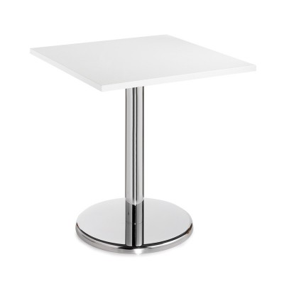 White Square Table With Trumpet Base