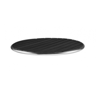 Faux Wood Black Outdoor Cafe Round Black Top
