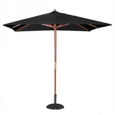 Square Double Pulley Parasol 2.5m - Black