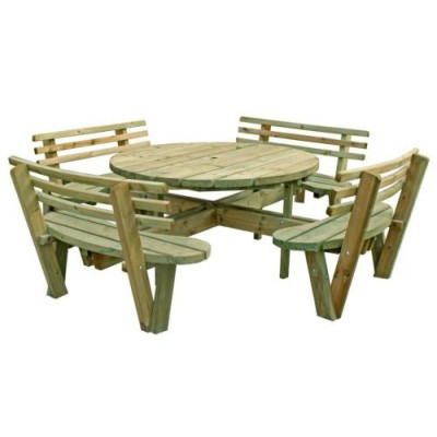 Swedish Redwood Picnic Bench with Backrests