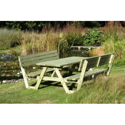 A Frame Picnic Table with Back Rests