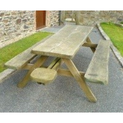 Whole Tree Picnic Table + End Benches