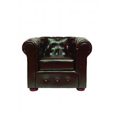 Madrid Chesterfield Armchair - Brown Faux Leather