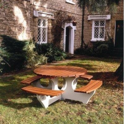 8 Seater Round Timber and Concrete Picnic Table