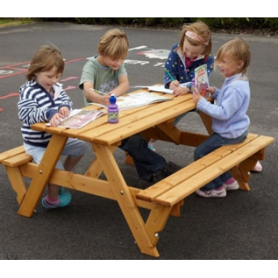 Infant 6 Seat Wood Picnic Bench