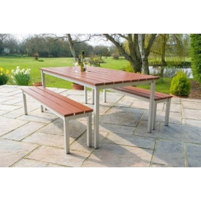 Outdoor Commercial Table and Bench Set