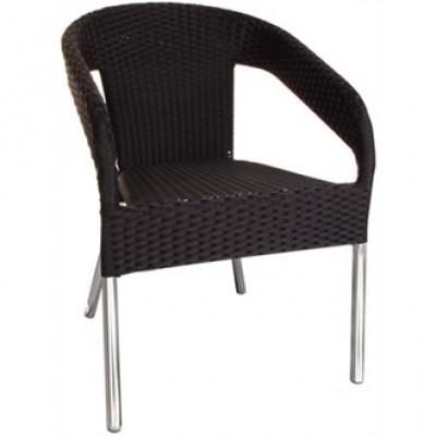 Basildon Black Weave Outdoor Cafe Armchair