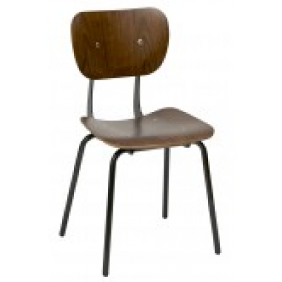 Pella Walnut Metal Side Chair