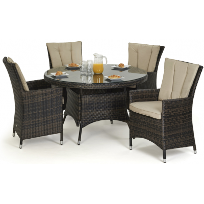 Jose 4 Seat Outdoor Round Rattan Dining Set