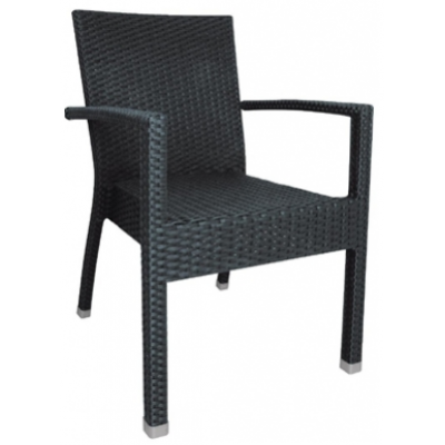 Abberton Black Wicker Outdoor Restaurant Armchair