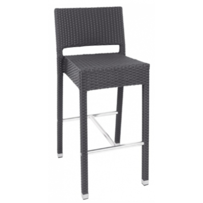Abberton Outdoor Charcoal Wicker High Bar Stool