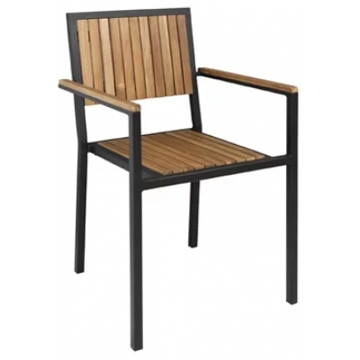 Jackie Steel and Acacia Outdoor Arm Chair