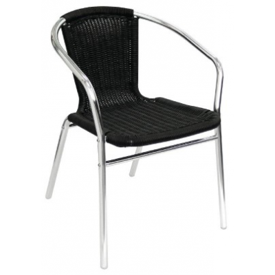 Cheltenham Black Wicker Outdoor Cafe Chair