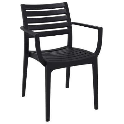 Amelia Indoor or Outdoor Black Polypropylene Cafe Armchair