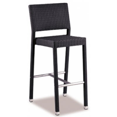 Georgina Indoor or Outdoor Black Weave High Bar Stool