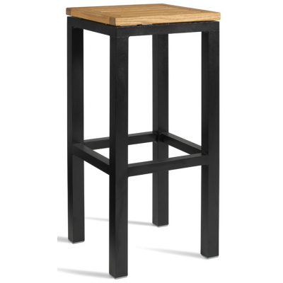 Lucy Outdoor High Bar Stool With Wood Seat