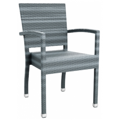 Madeline Grey Weave Outdoor Bistro Armchair