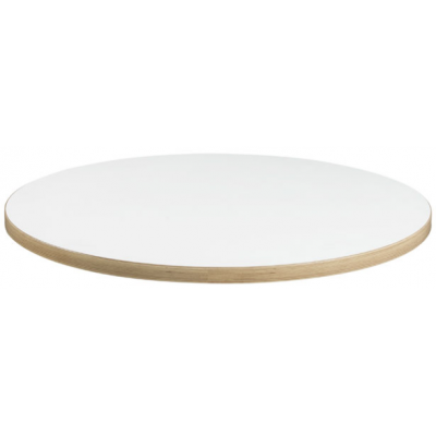 White Round 25mm melamine top with ABS Ply Wood Edge
