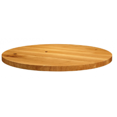 Solid Natural Lacquered Character Oak Round Top